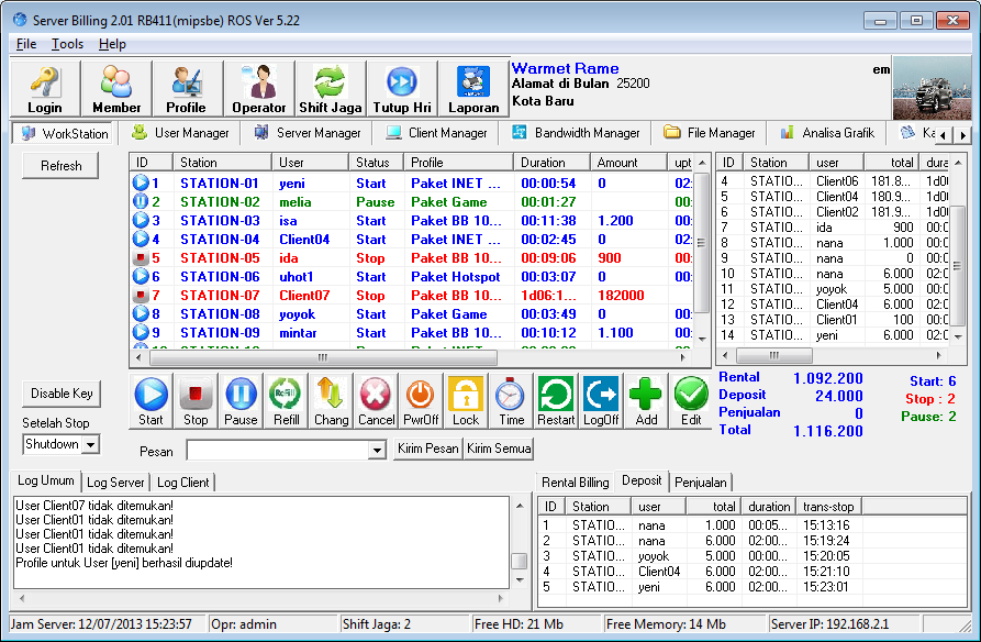 Screenshoot Server BillingMikrotik